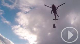 Espectacular rescate de una montañera en la sierra madrileña