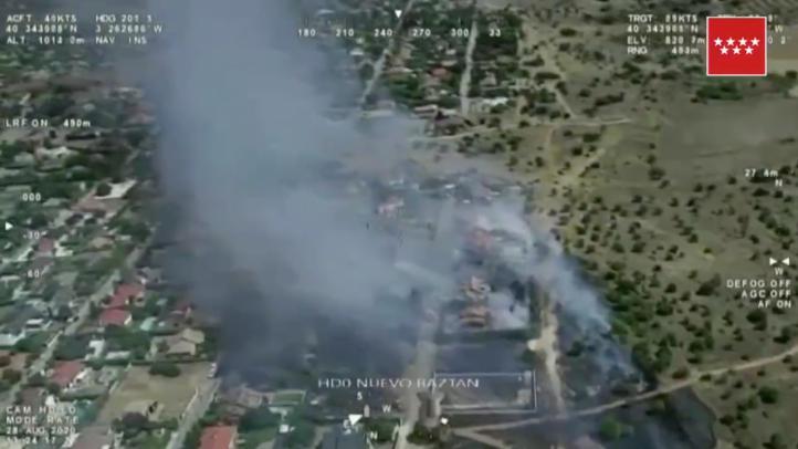Estabilizado un incendio en Villar del Olmo cercano a viviendas de la urbanización Eurovillas