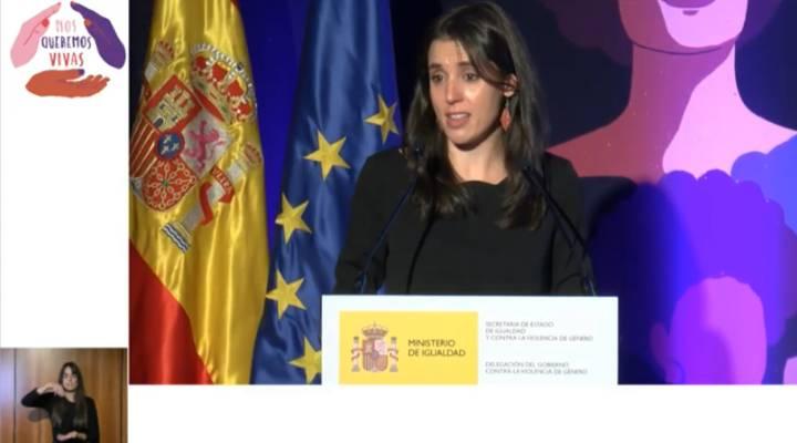 Irene Montero pide entre lágrimas la unidad del feminismo