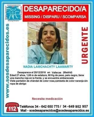 Cartel de Sosdesaparecidos para dar con Nadia Lamchati