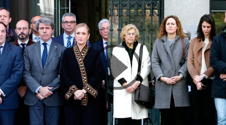 Minuto de silencio en las instituciones madrileñas, Ayuntamiento y Comunidad han mostrado su repulsa a los atentados