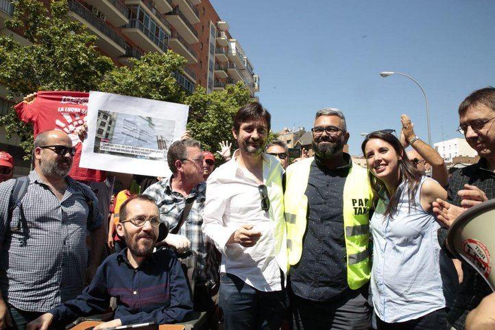 Guardingo, Echenique, Mayoral, Montero y Mayoral, recibidos por los taxistas