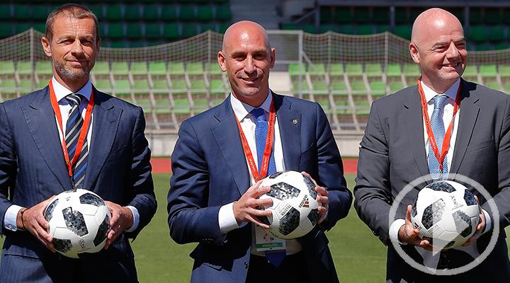 Los Presidentes de FIFA, UEFA y RFEF, juntos en la Ciudad del Fútbol