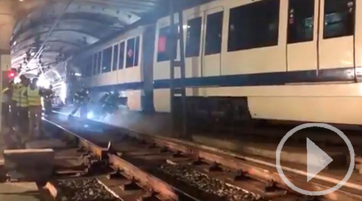 Simulacro de incendio en la estación de Tres Olivos