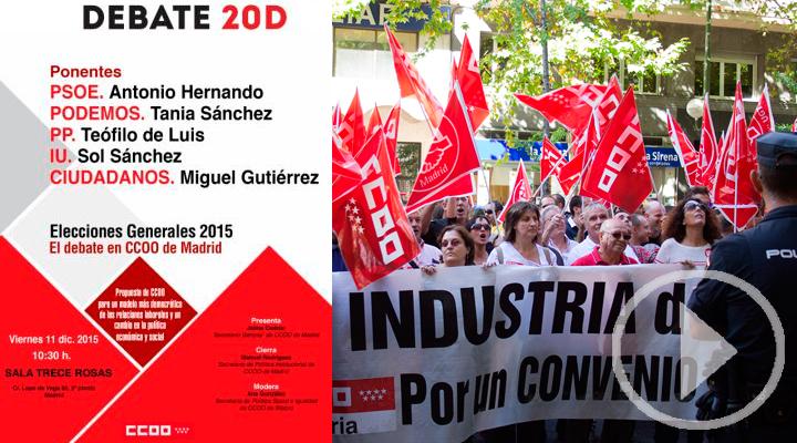Siga en directo el debate de los candidatos en la lista por Madrid desde la sede de CCOO