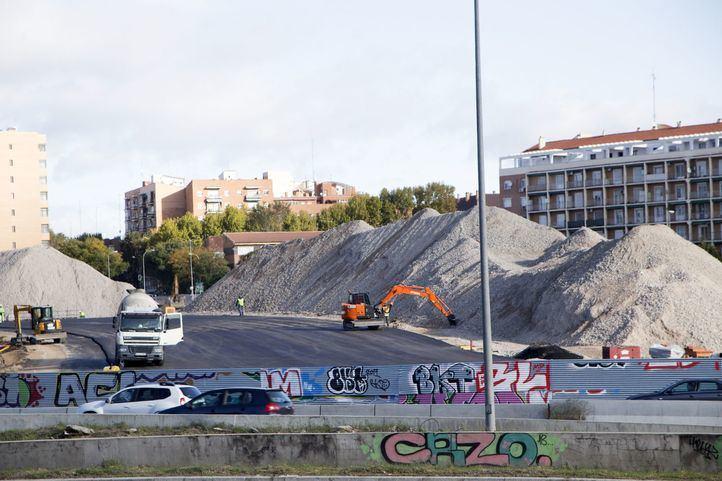 Desvío de la M-30 a su paso por el estadio Vicente Calderón.