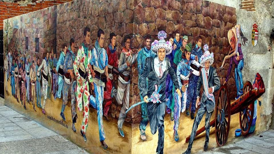 Mural pintado en la plaza de la Constitución
