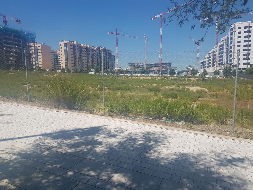 Espacio reservado para la construcción de un Centro de Enseñanza Pública en Valdedebas. (FOTO: CCOO)
