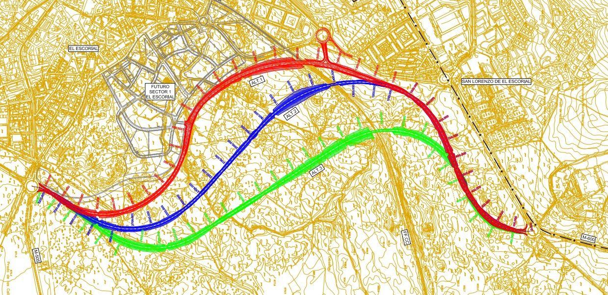 Plano de las tres alternativas estudiadas (Foto: Comunidad de Madrid)
